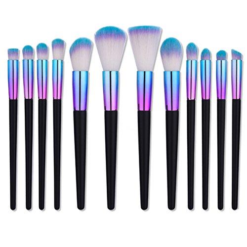 Lot de brosse de maquillage, 12 Pcs Pinceaux de maquillage professionnels Kabuki Brosse de visage Poudre blush Fard à paupières Fond de teint Cosmétique Pinceaux Cosmétique kit outils