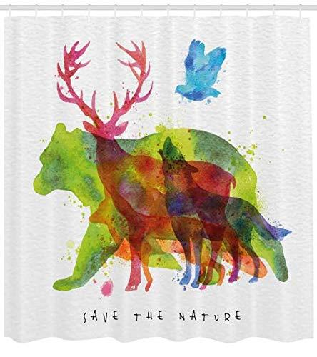 ABAKUHAUS Tier Duschvorhang, Alaska Tiere Bär Wolf, Moderner Digitaldruck mit 12 Haken auf Stoff Wasser und Bakterie Resistent, 175 x 200 cm, Multicolor -