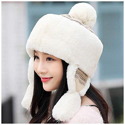 LIXUE Chapeau d'hiver femme hiver version coréenne Chapeau mongol doux chapeau mignonne princesse faisant du vélo voyage chaud protection d'oreille Lei Feng chapeau noir, gris, kaki, beige, rose, blan
