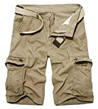 BULUOMU Herren Cargo Shorts Vintage Arbeitsshorts Kurze Freizeithose Outdoor Bermuda aus Baumwolle Männer Sommerhose mit Gürtel-Khaki