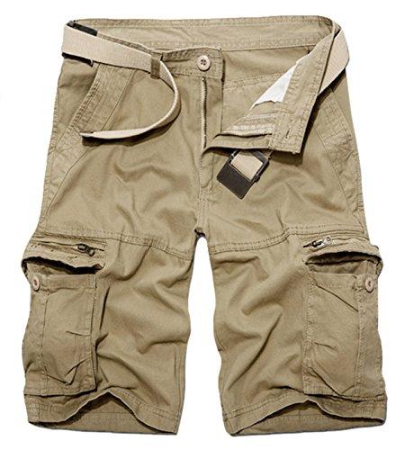 BULUOMU Herren Cargo Shorts Vintage Arbeitsshorts Kurze Freizeithose Outdoor Bermuda aus Baumwolle Männer Sommerhose mit Gürtel-Khaki (Cargo-shorts Casual)