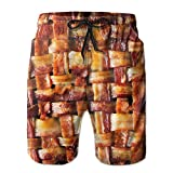 RAINNY Men Funny Bacon Meat Short Beach Pants Quick-Drying Board Pant Large M
