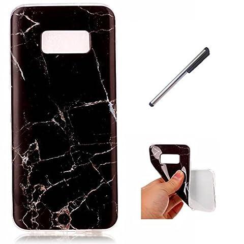 Samsung Galaxy S8 Marmor Hülle. DECHYI schwarz Marmor Serie Flexible TPU Kratzfest , Anti-Kollisions-Silikon Handy Hülle shell Case Cover .Tasche Schutzhülle für Samsung Galaxy S8