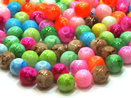 100 Stück 6mm Glasperlen Glasperlenmix Perlen Spacer Beads Multicolor MIX Schmuckperlen Kinderperlen Bastelperlen 29,2g/ca. 100 Stück (174)