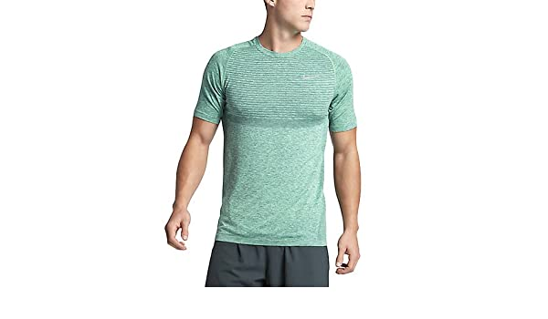 Nike Herren DRI FIT Knit SS Kurzarm Laufshirt, Grünes Glühen