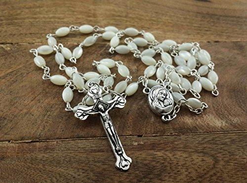 Zoom IMG-1 rosario di perle croce con