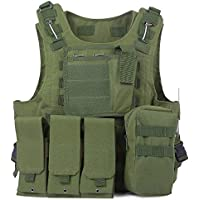 Chaleco de Policía Chaleco Táctico Militar al Aire Libre Juego de Guerra Airsoft Caza Tank Vest Molle Chaleco Combate Asalto Placa Camuflaje Chaleco de Portador para Camping Viaje Hiking (#2)