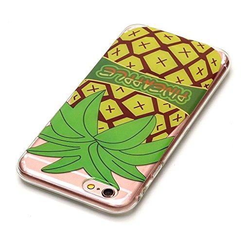 iPhone 5c Hülle Silikon, LuckyW TPU Handyhülle für Apple iPHone 5C Soft Silikon Tasche Transparent Schale Clear Klar Durchsichtig Ultra Slim Thin Dünne Schutzhülle Weiche Flexibel Kratzfeste Scratch-R Ananas