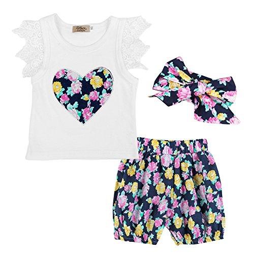 Bestanx Baby Mädchen Spitze Flying Sleeve Shirt Tops und Blumenmuster Bloomer Shorts Outfits Set (Bloomers Spitze)