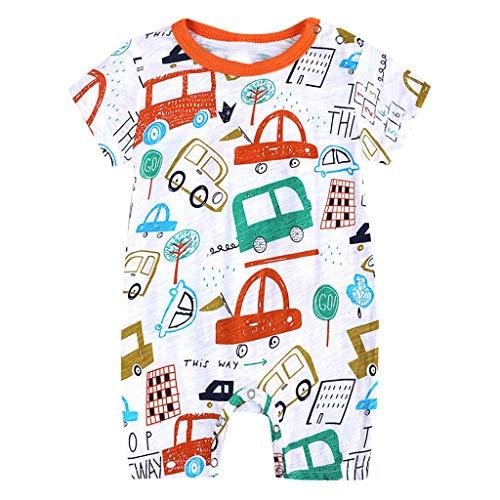 feiXIANG Kleinkind Baby Mädchen Junge Strampler Cartoon Tier Print Outfit Sommer O-Ausschnitt Schlafanzug(Orange,59)