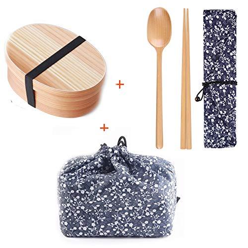 Coeffort Japanische hölzerne Brotdose Fach Sushi Lebensmittelbehälter für Kinder Bento-Box mit Tasche und Löffel Stäbchen Geschirr-Set,C Bento Sushi Box