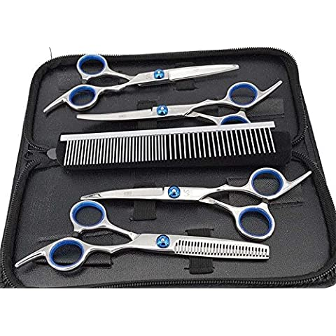 Pet scissor capelli professionale del cane grooming taglio kit forbici curvo cesoie assottigliamento pettine trimmer strumento di taglio dei capelli 6 pezzi set