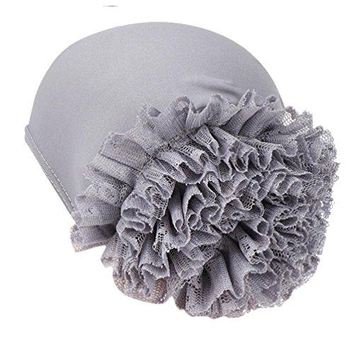 URSING Damen Kopftuch Wrap Frauen Blumen Indien Hut Muslimischen Rüschen Krebs Chemo Beanie Schal Turban Wrap Cap Sommer Elegant Bandana Multifunktionstuch Kopfbedeckung Stirnband Accesoire (Grau)