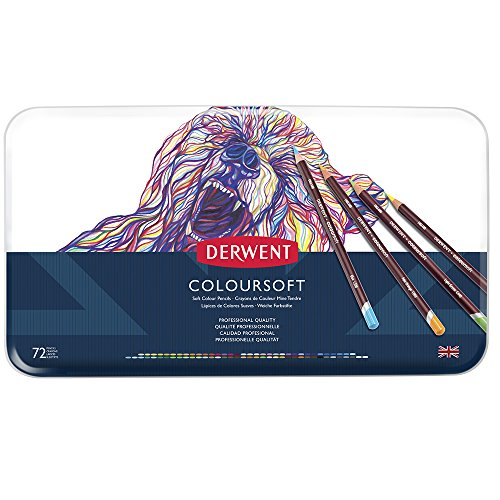 Derwent Coloursoft - Lápices Derwent de colores suaves (72 colores, en estuche de metal)