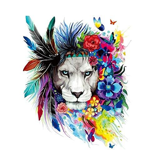 YUnnuopromi Farbiger Tigerkopf-Muster, Wärmeübertragung, Aufkleber zum Aufbügeln
