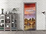 GRAZDesign 791507_67x213 Tür-Bild Skyline New York | Aufkleber fürs Wohnzimmer | Tür-Tapete selbstklebend (67x213cm//Cuttermesser)