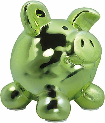Swiggie Porzellan Sparschwein Metallic Grün Glücksschwein Spardose Sparbüchse: Größe: 13 cm