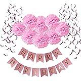 Wartoon HAPPY BIRTHDAY Papel feliz cumpleaños empavesado Banderines con 8 Papel de Seda Pom Poms Bola de la Flor y 15 Guirnaldas verticales para Decoraciones del Partido Fiesta de Cumpleaños, Rosa