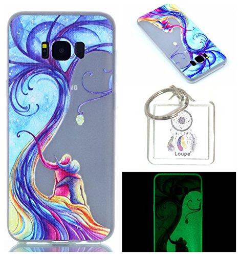 Preisvergleich Produktbild Hülle Leuchtende Galaxy S8 (5,8 zoll) Silikon Etui Handy Hülle Weiche Transparente Luminous TPU Back Case Tasche Schale Leuchten In Der Nacht Für Galaxy S8 (5,8 zoll) + Schlüsselanhänger (P) (9)