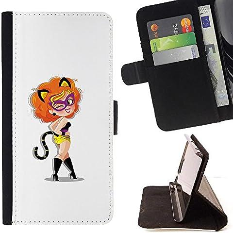 For Sony Xperia Z3 Compact / Z3 Mini (Not Z3) Case , Gato Foxy Sexy Lady- la tarjeta de Crédito Slots PU Funda de cuero Monedero caso cubierta de piel
