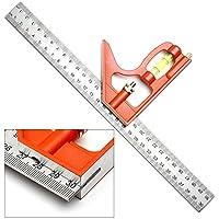 YouMiYa - Regla de nivel profesional de acero inoxidable, cuadrada, 300 mm, ideal para herramientas de marcación de 45° y 90°