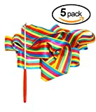 BingHang 5 pack Colorful Gym Rainbow Ribbons Dance Ribbons Streamers Dancing Streamers Rhythmic Gymnastic Ribbon Wands Rods for Children Wands Rods