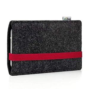 Stilbag maßgeschneiderte Handyhülle LEON   Smartphone-Tasche aus Filz   Handy Schutzhülle   Handytasche Made in Germany   Farbe: anthrazit-rot