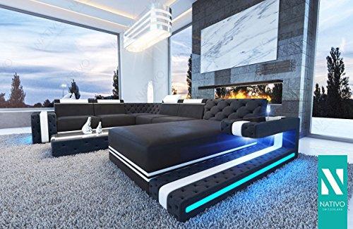 Designer KUNSTLEDER Wohnlandschaft IMPERIAL XXL mit LED Beleuchtung NATIVO© Ecksofa, Sofa, Wohnlandschaft