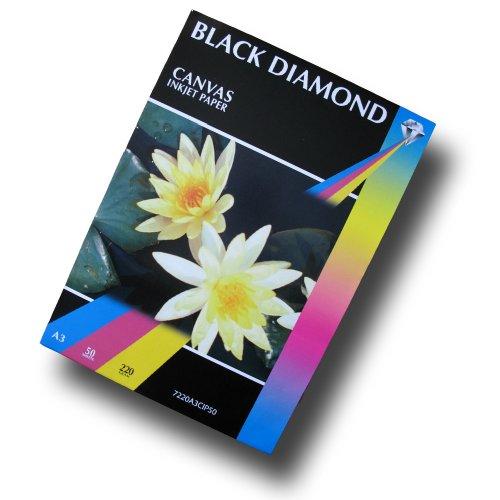 50 Blatt - Black Diamond weiß A3 schwere Matte Canvas Inkjet Papier, 220gsm, die außergewöhnliche Resultate und feine Kunstdrucke Anwendungen