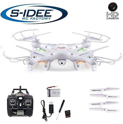 s-idee 01541 Quadrocopter X5C Forscher Syma X5C HD Kamera mit Tonaufzeichnung mit Motor-Stopp-Funktion und Akku Warner 360° Flip Funktion Nachfolger vom Syma X5 2.4 GHz 4-Kanal 6-AXIS Stabilization System weiss