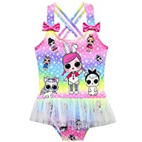 ALAMing Girl Swimming Costumes Bathing Suit Ruffle Swimwear One Piece Swimsuit (style01, 6-7years)