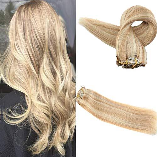 Easyouth Remy Clip in Hair Extensions 14 Zoll 100g 9 Stück Pro Paket Farbe 27 Honig Blonde Highlight Mit 613 Gelbe Blonde Klipp Haarverlängerung Clip in Extensions Set - Honig-haar-highlights