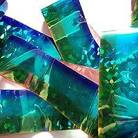 OMBRE YELLOW BLUE BROKEN GLASS Holographic Nail Art Foil Decoration Wrap Transfer Sticker