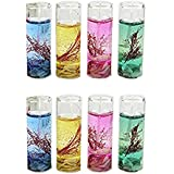Atorakushon Smokeless Multi Pack Of 8 Mini Tube Gel Glass Tube T-lite Candle Decorative Designer Gel Candles Set For Decoration Candles For All Occasion Living Room Bedroom Wedding Anniversory Bridal Shower Wedding Room Home Decoration Table Decoration, H
