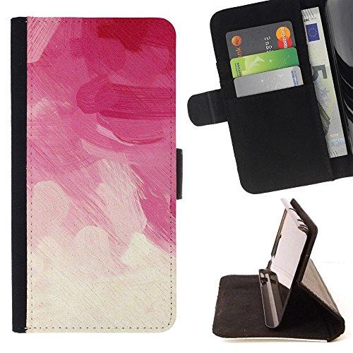 For HTC One Mini 2 M8 MINI Case , Rosa Brush Strokes vignetta floreale Nuvole - Portafoglio in pelle della Carta di Credito fessure PU Holster Cover in pelle case