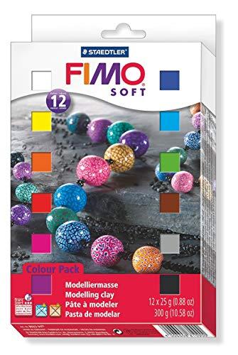 STAEDTLER FIMO Soft, Blocchi Colorati di Pasta Modellabile Termoindurente per la Creazione di Piccoli Oggetti, Adatto per Bambini, set da 12 Colori da 25 Grammi Ciascuno, 8023 01