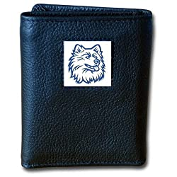 NCAA Connecticut Huskies Deluxe Leather Tri-fold Wallet
