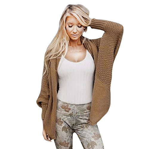 n Top,Ladies Winter Open Front Solid Pocket Cardigan Outwear LangäRmelpullover Coat Tops (One Size,Khaki) ()