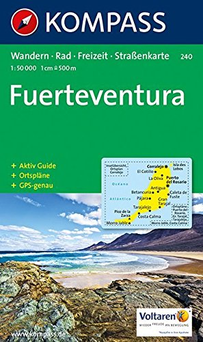 Carta escursionistica n. 240. Spagna. Isole Canarie. Fuerteventura 1:50.000. Adatto a GPS. Digital map. DVD-ROM (Kompass) por Kompass