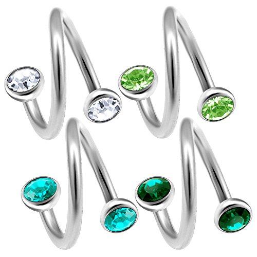 4 Stück 1,2mm piercing spirale 8mm cartilage augenbrauenpiercing tragus helix ohr piercing schmuck Kristall-Halbkugel - E5XE5S