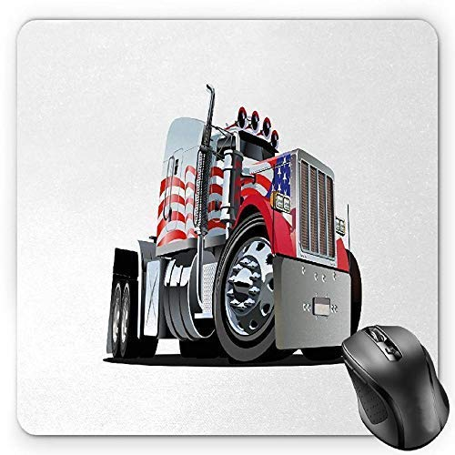 rican Flag Themed Semi 18 Wheeler Patriotic Transportation Industrial Vehicle Gaming Mousepad Office Mouse Mat Red White Blue ()