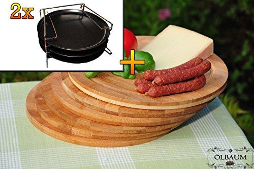 Picknickset, Holzbrettchen 6x TRADITIONELL rundes Pizzablech mit gelochtem Boden + 2x 4 stufiger Edelstahl-Pizzablechhalter, ca. 33 cm x 1 mm & 6 Stk. Schneidebrett - massive, hochwertige ca. 12 mm starke Picknick-Grill-Holzbretter mit Rillung natur, dunkles Bambus, Maße rund je ca. 25 cm Durchmesser als Bruschetta-Servierbrett, Brotzeitbrett, Bayerisches Brotzeitbrettl, NEU Massive Schneidebretter