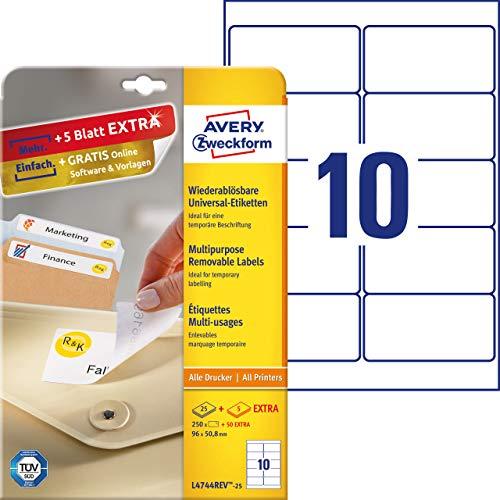 AVERY Zweckform L4744REV-25 Etiketten (A4, 250 Plus 50 Universal-Etiketten extra, ablösbar, 96 x 50,8 mm, 30 Blatt) weiß