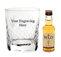 Personalised Engraved Cut Crystal glass, with 50ml Bells Whisky in Board Gift box from Bells
