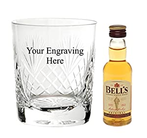 Personalised Engraved Cut Crystal glass, with 50ml Bells Whisky in Silk Lined Gift box from Bells