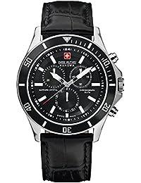 Swiss Military Hanowa - Reloj analógico de cuarzo para hombre con correa de piel, color negro