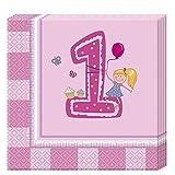 Procos Erster Geburtstag Mädchen 2-lagige Papierservietten 33x33cm
