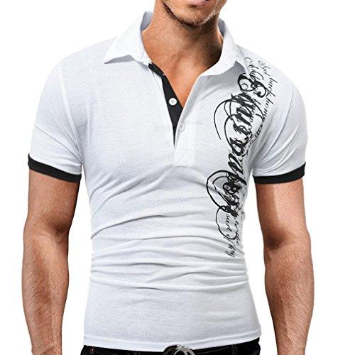 Elecenty Herren Sommerbluse T-shirt ,Drucken Polo Blusen Umlegekragen Pulli Blusentop Männer Kurzarm-Shirt Sommerhemd Tops Haushemd Mode Pullover Freizeithemd Bluse (2XL, Weiß) (Shirt Gestreift Button-down Polo)