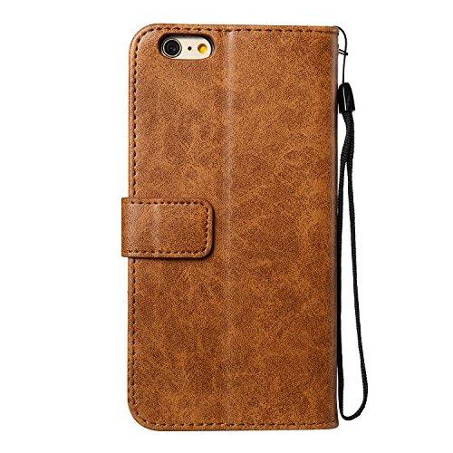 Coque iPhone 6 / 6S Plus (5.5 pouces) Étui en PU Cuir mort wallet Fermoir Magnétique Case Anti-rayures de la Haute Qualité Housse Anti-choc Anfire Cover pour iPhone 6 Plus / 6S Plus - brun Crâne brun
