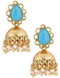 The Jewelbox 19K Antique Gold Plated American Diamond Jhumki Earring For Women